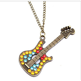 Pendant Necklaces Guitar Exaggerated Sweater Chain Vintage Birthday Party Gi..