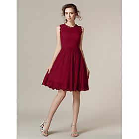 A-Line Princess Jewel Neck Knee Length Lace Bridesmaid Dress with Lace Pleats by LAN TING BRIDE plus size,  plus size fashion plus size appare