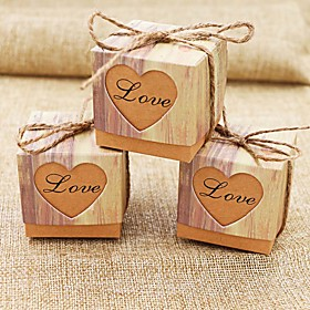 50pcs/lots Romantic Heart Candy Box for Wedding Decoration Vintage Kraft Wedding Favors and Gifts Box with Burlap Twine 5823810