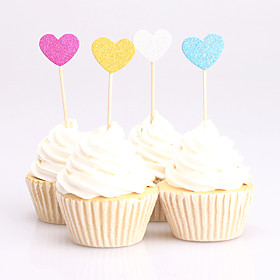 10pcs lovely heart birthday decorations cupcake toppers picks Kids party decoration baby shower paper glitter cup cake topper 5840089