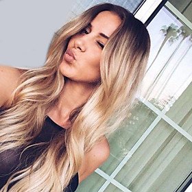 Synthetic Wig Wavy Natural Wave Middle Part Dark Roots Ombre Hair High Quality Fashion Black-Blonde Women's Capless Natural Wigs Long 5811406