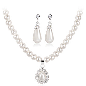 Women's Jewelry Set Pearl, Rhinestone Drop Fashion, Euramerican Include Necklace / Earrings White For Wedding Party Anniversary Engagement Gift Daily