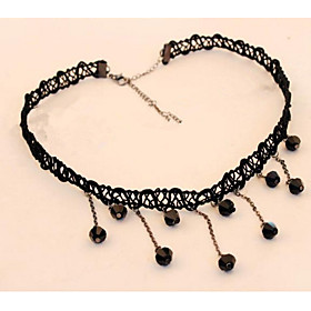 Choker Necklaces Korean Lace Knitting Black Water Droplets Collarbone Short ..