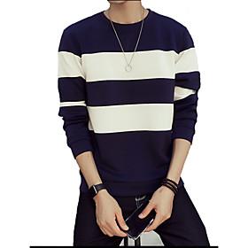 Men's Color Block Casual / Sport Hoodie  Sweatshirt,Cotton Long Sleeve Black / Blue / White 5162797