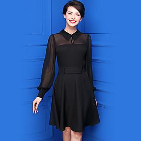 Patineuse Robe Femme Décontracté / Quotidien simple,Couleur Pleine Col de Chemise Mi-long Manches Longues Polyester Eté Taille Normale