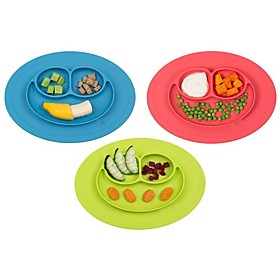 1Pcs  New Toddler Baby Kids Food Placemat One-Piece Silicone Divided Dish Bowl Plates 5765418