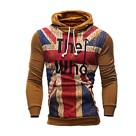 Men's Casual/Daily Hoodie Color Block Round Neck Inelastic Cotton Long Sleeve Spring Fall Winter 5853877