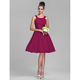 LAN TING BRIDE Knee-length Chiffon / Stretch Satin Bridesmaid Dress - A-line Straps Plus Size / Petite plus size,  plus size fashion plus size appare