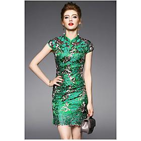 Gaine Robe Femme QuotidienBroderie Mao Au dessus du genou Manches Courtes Polyester Eté Taille Haute Micro-élastique Fin
