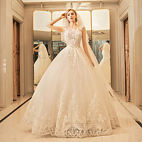 Image of Princess Jewel Neck Floor Length Tulle Wedding Dress with Sequin Appliques Lace Ruffle by YUANFEISHANI