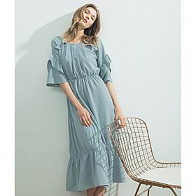 Balançoire Robe Femme Décontracté / QuotidienCouleur Pleine Col Arrondi Midi Polyester Eté Taille Haute Non Elastique Fin