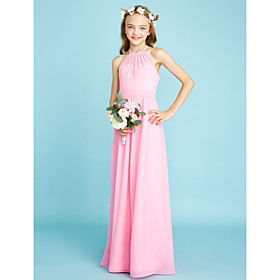 74e546616f22 A-Line Halter Neck Floor Length Chiffon Junior Bridesmaid Dress with Sash /  Ribbon by