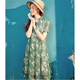 Ample Robe Femme Décontracté / QuotidienImprimé Mao Midi Manches Courtes Polyester Eté Taille Normale Micro-élastique Fin