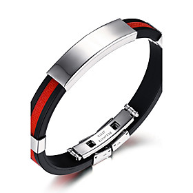 Men's ID Bracelet Hip-Hop Fashion Rock Silicone Titanium Steel Round Circle ..