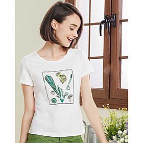 Tee-shirt Femme,Couleur Pleine Imprimé Décontracté / Quotidien simple Manches Courtes Col Arrondi Coton