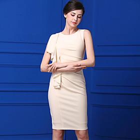 Gaine Robe Femme Décontracté / Quotidien simple,Couleur Pleine Col Arrondi Mi-long Sans Manches Polyester Eté Taille Normale
