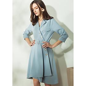 Chemise Robe Femme Décontracté / Quotidien Vintage simple,Couleur Pleine Col en V Asymétrique Polyester Eté Taille Haute Non Elastique
