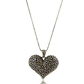 Pendant Necklaces Vintage Jewelry Carved Hearts Sweater Chain Bronze Movie J..