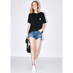 Tee-shirt Femme,Couleur Pleine Broderie Quotidien Décontracté simple Manches Courtes Col Arrondi Coton Microfibre