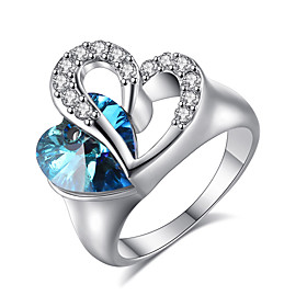 Women's   Elegant Platinum Sapphire  Heart Shape Ring Jewelry Fof Wedding An..