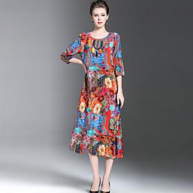 Ample Robe Femme Décontracté / Quotidien Grandes Tailles Sortie Vintage Chinoiserie Sophistiqué,Fleur Imprimé Col Arrondi Midi Manches 3/4