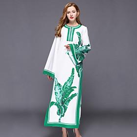 Ample Robe Femme Décontracté / Quotidien Chinoiserie,Imprimé Col Arrondi Maxi Manches Longues Blanc Coton / Polyester PrintempsTaille