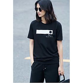 Tee-shirt Femme,Autre Quotidien Décontracté simple Manches Courtes Col Arrondi Coton