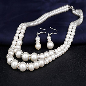 Women's Pearl Double Strand Jewelry Set -