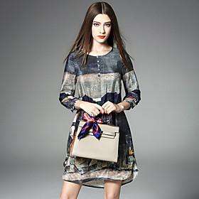 Trapèze Ample Robe Femme Sortie Décontracté / Quotidien Grandes Tailles Vintage Sophistiqué,Imprimé Architecture Col ArrondiAu dessus du
