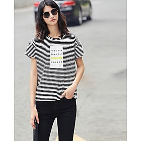Tee-shirt Femme,Rayé Quotidien Décontracté simple Manches Courtes Col Arrondi Polyester