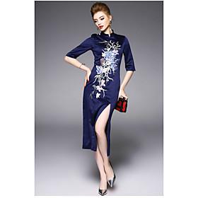 Gaine Robe Femme QuotidienBroderie Mao Midi ½ Manches Polyester Eté Taille Haute Micro-élastique Fin