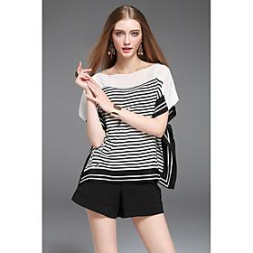 Tee-shirt Femme,Rayé Quotidien simple Manches Courtes Col Arrondi Coton