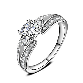 Ring Engagement Ring AAA Cubic Zirconia Circle Platinum  Round Jewelry For W..