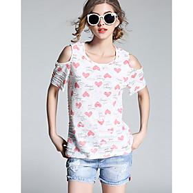 Tee-shirt Femme,Géométrique Quotidien simple Manches Courtes Col Arrondi Coton