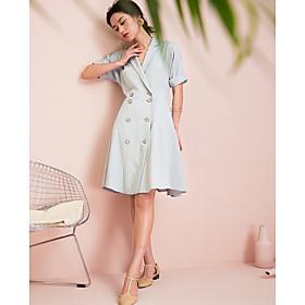 Chemise Robe Femme Décontracté / QuotidienCouleur Pleine Col en V Au dessus du genou Manches Courtes Coton Eté Taille Haute Non Elastique