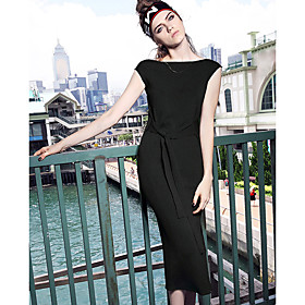 Gaine Robe Femme Décontracté / QuotidienCouleur Pleine Col Arrondi Midi Sans Manches Polyester Eté Taille Haute Non Elastique Fin