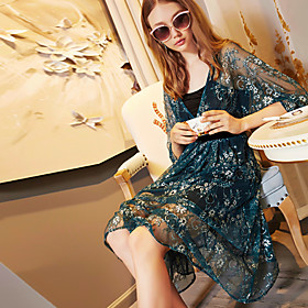 Ample Robe Femme Soirée Sortie Décontracté / Quotidien Impression de dentelle Col en V Mi-long Demi Manches Coton Polyester Eté Automne