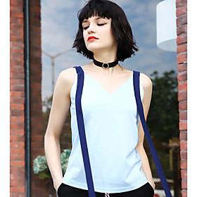 Tee-shirt Femme,Couleur Pleine Quotidien simple Sans Manches Col en V Rayonne Polyester