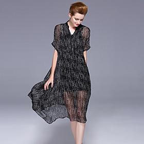 Ample Balançoire Robe Femme Sortie Décontracté / Quotidien simple,Géométrique Col en V Midi Manches Courtes Soie Polyester EtéTaille