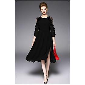 Gaine Robe Femme QuotidienCouleur Pleine Col Arrondi Mi-long Manche 3/4 Polyester Eté Taille Haute Micro-élastique Fin