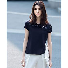 Tee-shirt Femme,Couleur Pleine Quotidien Décontracté simple Manches Courtes Asymétrique Coton
