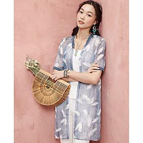 Manteau Femme,Couleur Pleine Imprimé Quotidien Vacances Moderne Eté Manches Courtes Col en V Longue Polyester