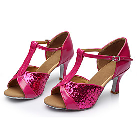 Women's Paillette Latin Shoes Sequin Sandal Customized Heel Customizable Fuchsia / Indoor / Leather Category:Latin Shoes; Upper Materials:Paillette; Embellishment:Sequin; Lining Material:Fabric; Heel Type:Customized Heel; Actual Heel Height:Customized Heel; Style:Sandal; Outsole Materials:Leather; Occasion:Indoor; Closure Type:Buckle; Customized Shoes:Customizable; Listing Date:07/17/2017; Production mode:External procurement; Foot Length:; SizeChart1_ID:2:468; Size chart date source:Provided by Supplier.; Base Categories:Dance Shoes,Shoes,Apparel  Accessories