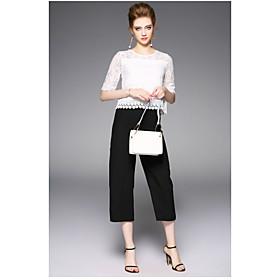 Chemisier Pantalon Costumes Femme,Couleur Pleine Quotidien Moderne Eté Col Arrondi