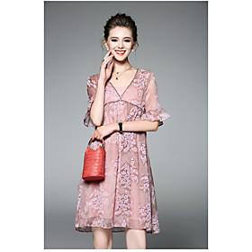 Ample Robe Femme QuotidienCouleur Pleine Imprimé Col en V Au dessus du genou ½ Manches Polyester Eté Taille Haute Micro-élastique Fin