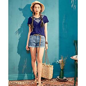 Tee-shirt Femme,Couleur Pleine Imprimé Décontracté / Quotidien simple Manches Courtes Col Arrondi Coton Polyester