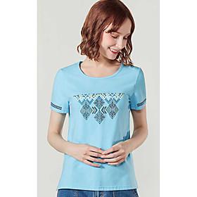 Tee-shirt Femme,Formes Géométriques Quotidien Décontracté simple Manches Courtes Col Arrondi Coton