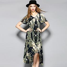 Gaine Robe Femme Décontracté / Quotidien simple,Imprimé Col Arrondi Au dessus du genou Manches Courtes Polyester Eté Taille Haute