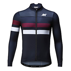 Mysenlan Men's Long Sleeve Cycling Jersey Horizontal Strips Bike Jersey, Quick Dry, Spring, Polyester / Breathable / Breathable 5691189