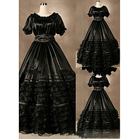 Image of One-Piece/Dress Gothic Lolita Vintage Inspired Lolita Cosplay Lolita Dress Vintage Cap Short Sleeve Floor-length Dress For Other